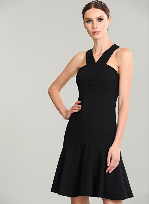 People By Fabrika Eteği Volanlı Elbise Siyah